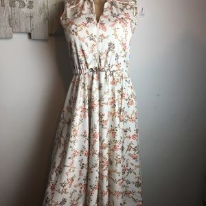Vintage 60/70 collared Floral Midi Dress